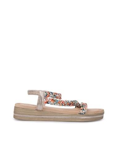 Via Dante Via Dante Kadın Taş Detaylı Sandalet Altın